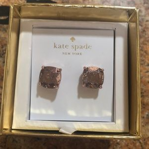 Kate Spade rose gold speckled stud earrings